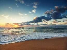Tranh in hoàng hôn trên bãi biển 4-7034