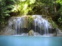 Tranh in thác nước bên hồ xanh ngọc 4-8017