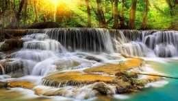 Tranh in thác nước tuyệt đẹp dưới bình minh 4-8032