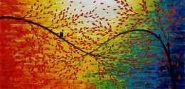 Tranh in mùa xuân và đôi chim nhỏ 4-9044