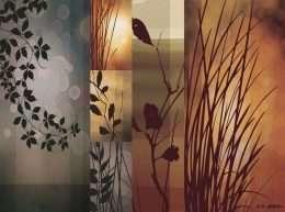 Tranh in nghệ thuật hoa và lá 4-8045