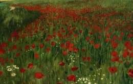 Tranh in vườn hoa màu đỏ 4-8054