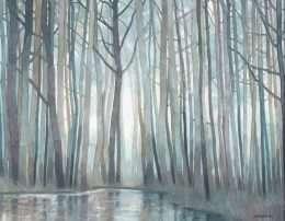 Tranh nghệ thuật cây và mặt hồ mùa đông 4-9055
